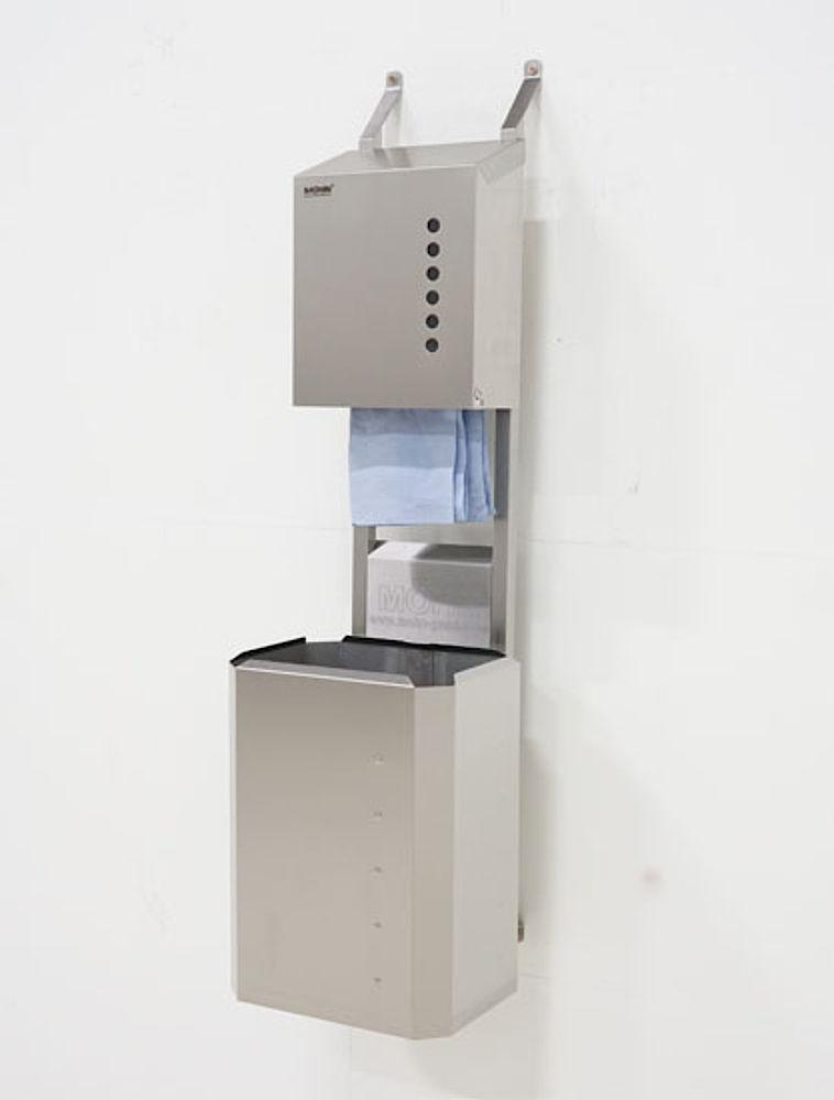 Dryrack mit Handtuchspender und Edelstahl-Papierkorb 40 ltr.