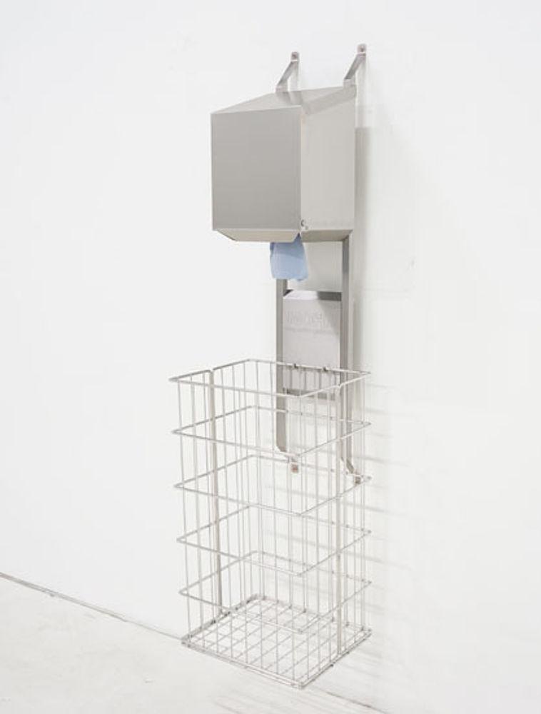 Dryrack-Wandhalterung mit Rollenbox und Papierkorb aus Edelstahl-Drahtgeflecht 100 Liter