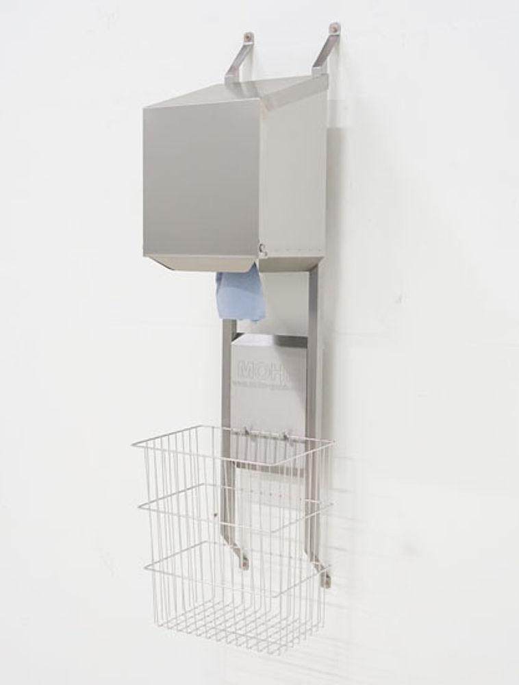 Dryrack-Wandhalterung mit Rollenbox und Papierkorb aus Edelstahl-Drahtgeflecht 40 Liter