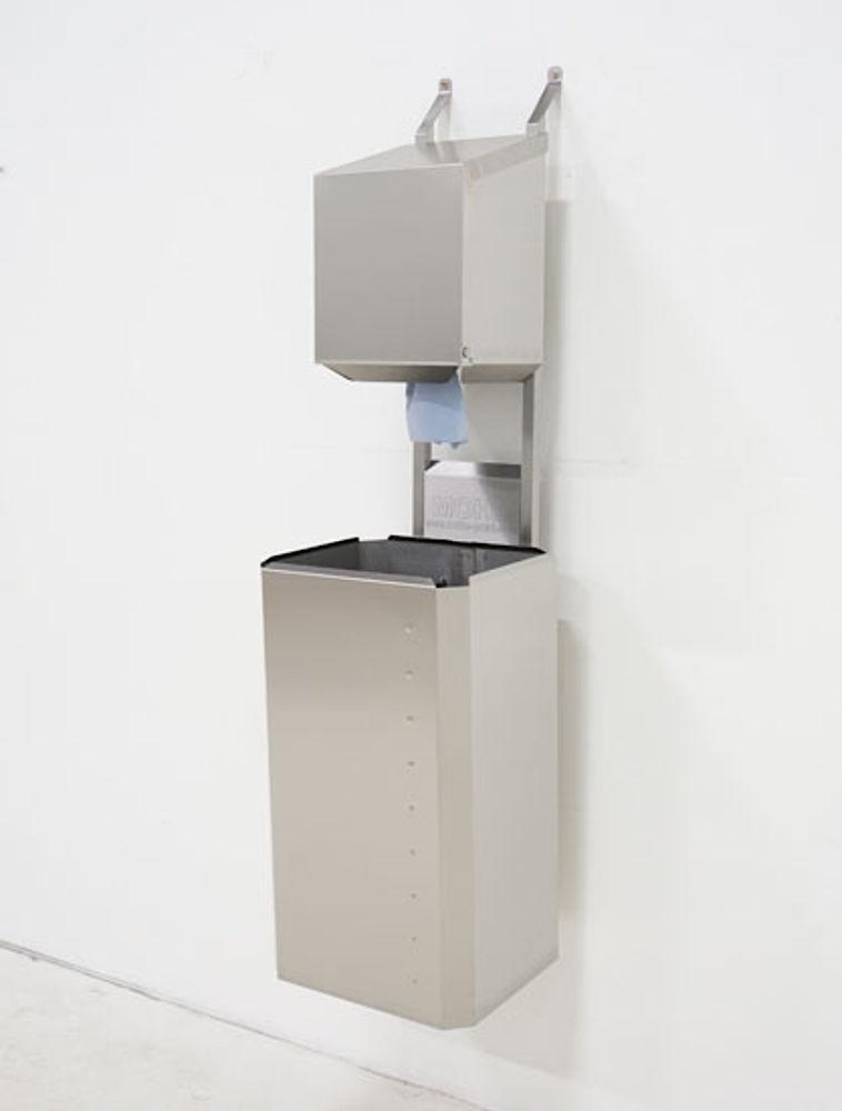 Dryrack-Wandhalterung mit Rollenbox und Papierkorb aus Edelstahlblech 100 Liter
