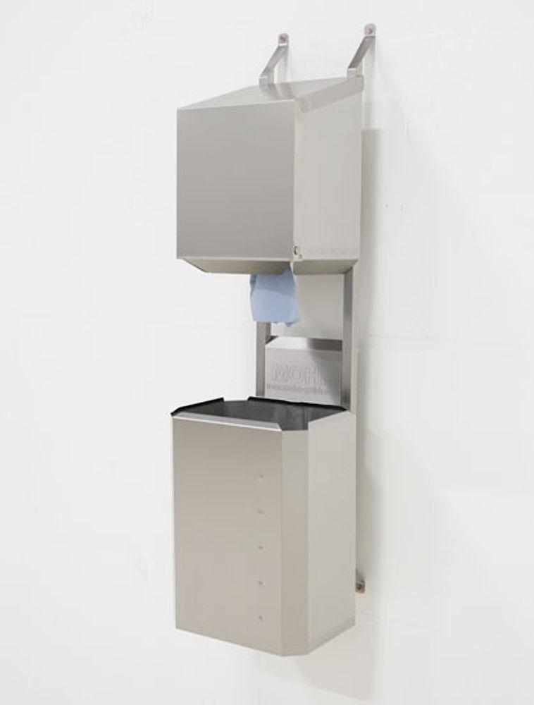 Dryrack-Wandhalterung mit Rollenbox und Papierkorb aus Edelstahlblech 40 Liter