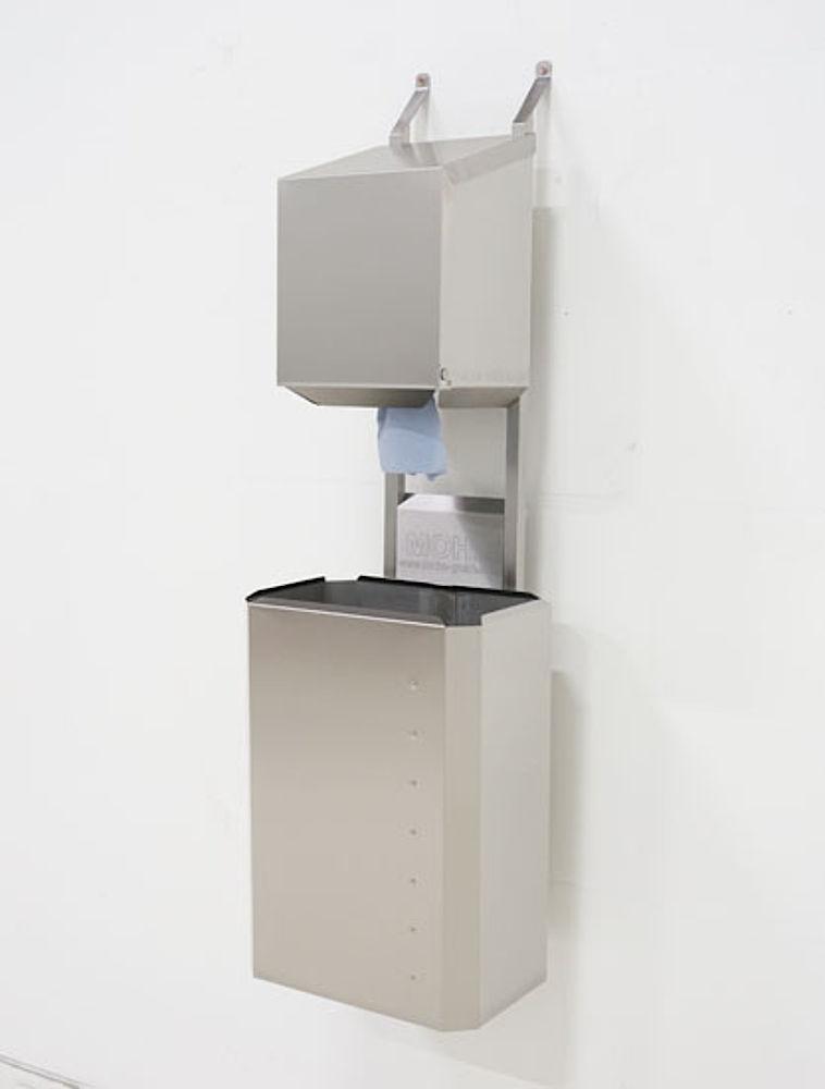 Dryrack-Wandhalterung mit Rollenbox und Papierkorb aus Edelstahlblech 60 Liter