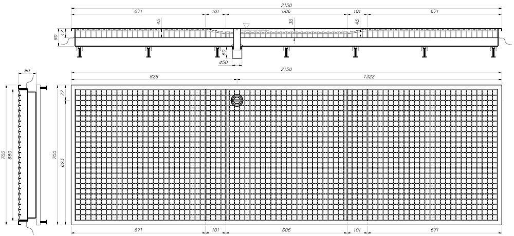 Zeichnung Desinfektionsbecken (Einbau) Typ DB-E 03-07