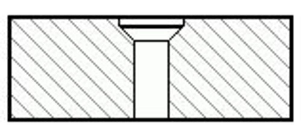 Einfache Senklochbohrung mit sichtbarer Verschraubung