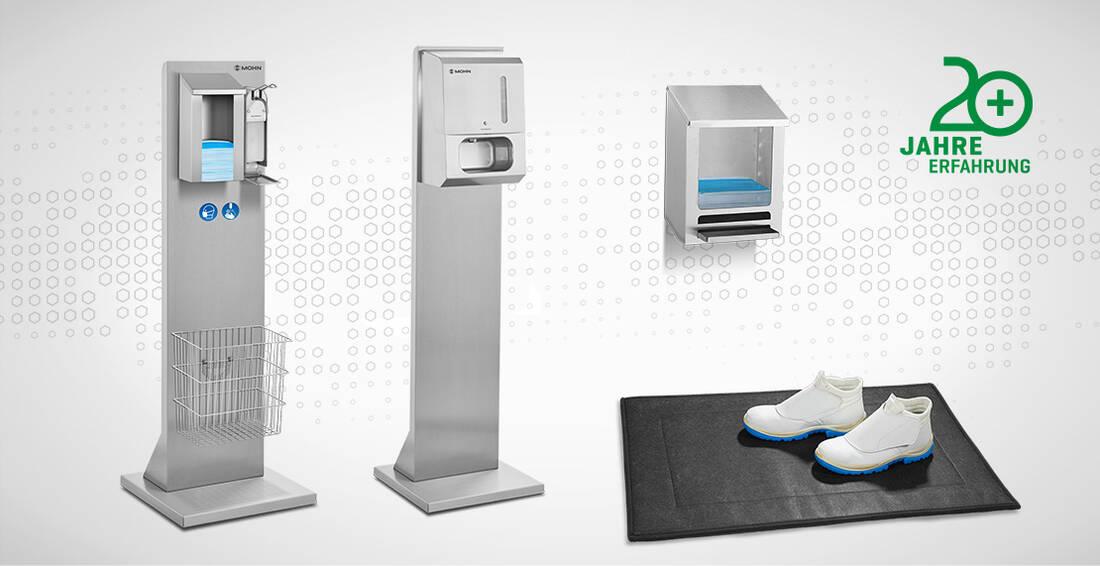 Infektionsschutzstation, Handdesinfektionsspender, Mundschutzspender und Desinfektionsmatte