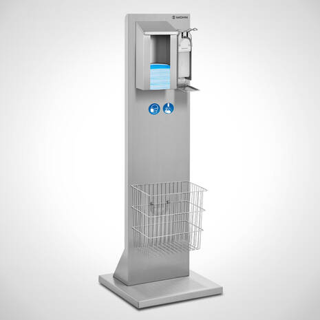 Infection protection station (Hygiene pillar, Entrance pillar) with hand disinfection and mouth masks