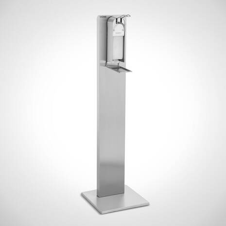 Hand disinfection dispenser with racks and dripping tray