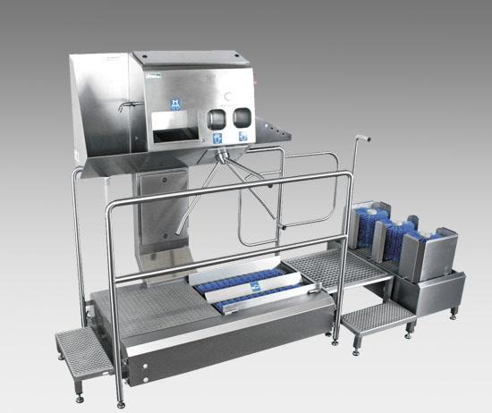 Hygieneschleuse Check-In-Station III Ecoline mit Stiefelreinigungsmodul Boot-Star I-M