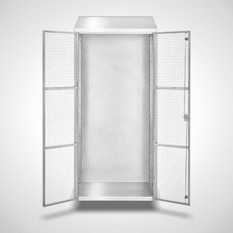 Wandhängender Ablageschrank mit Gittertüren, ID 20-61439 - frontal-Türen geöffnet