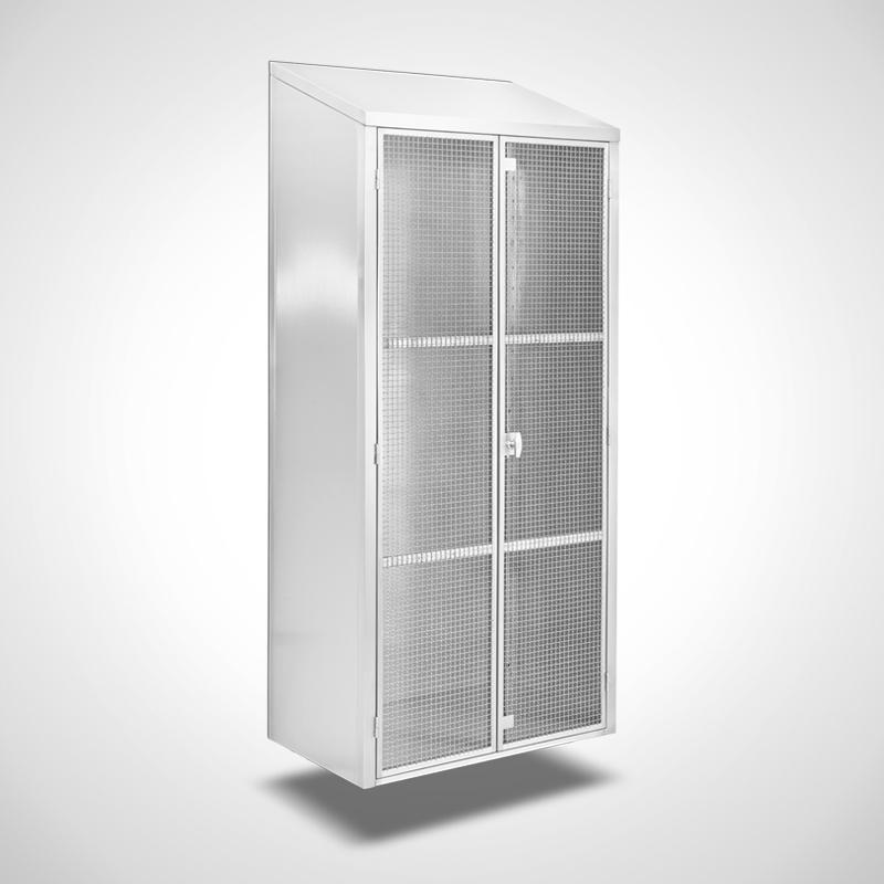Wandhängender Ablageschrank mit Gittertüren, ID 20-61439 - linksseitig-Türen geschlossen