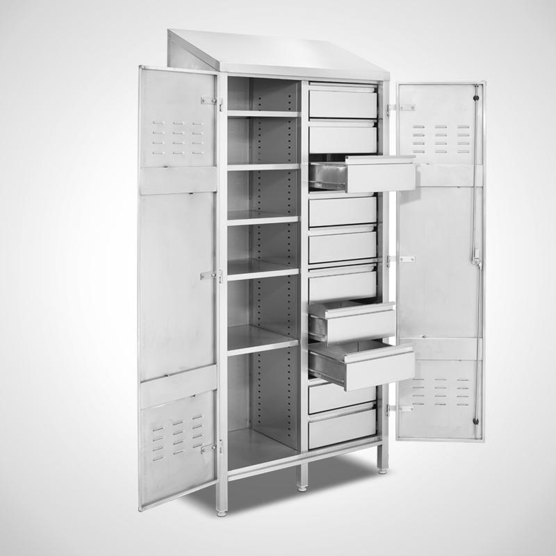 Ablage-Schubladenschrank, Ansicht links, 3 Schubladen offen (ID 19-62225)