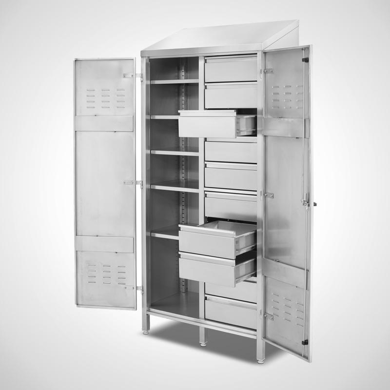 Ablage-Schubladenschrank, Ansicht rechts, 3 Schubladen offen (ID 19-62225)
