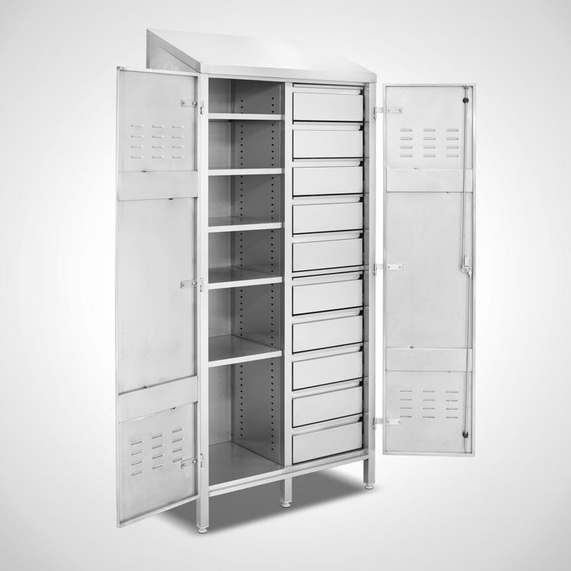 Ablage-Schubladenschrank, Ansicht links, Schubladen geschlossen (ID 19-62225)
