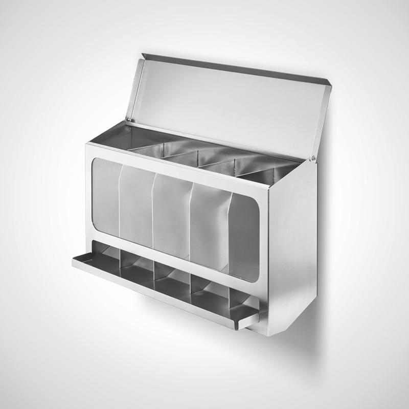 Einwegmaterial-Spender Typ EWS-5 mit 5 separaten Fächern, Seitenansicht-Deckel offen